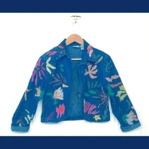 Chico's Floral Embroidered Jean Jacket Size S